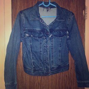 Ruffle jean jacket